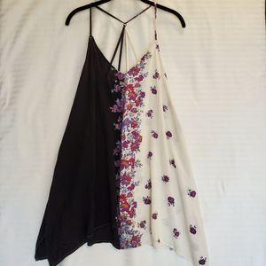 O'Neill beach coverup dress black white floral S
